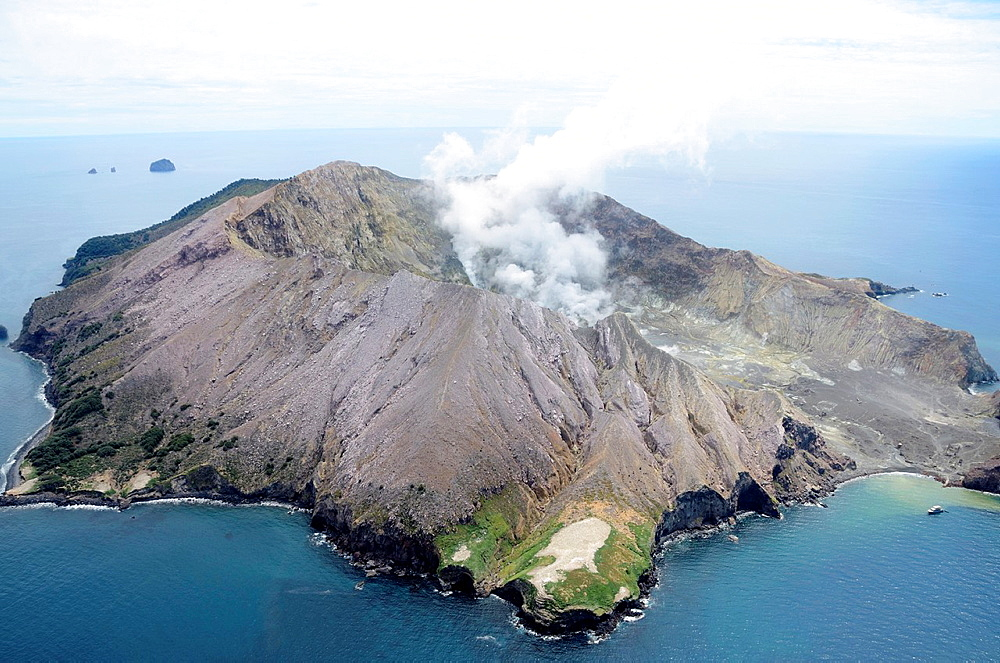 White Island is an active andesite stratovolcano, situated 48 km 30 mi from the east coast of the North Island of New Zealand, in the Bay of Plenty