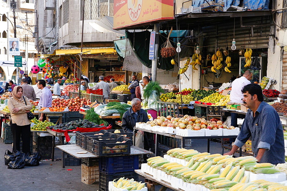 Fruits and vegetables market in the downtown Amman, Jordan