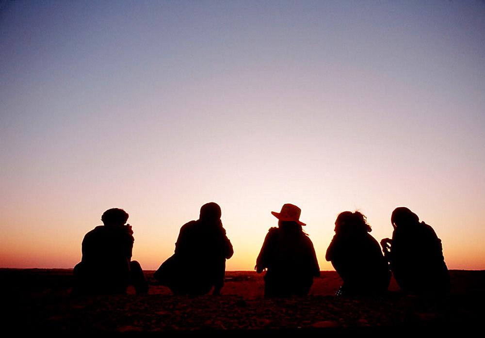 Tourists watching the sunset, Thar Desert, Rajasthan, India