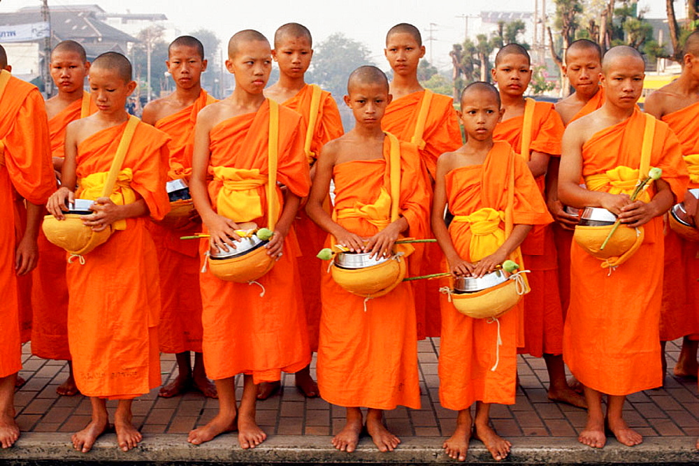 Buddhist Monks, First morning of Thai New Year, Chiang Mai, North Thailand
