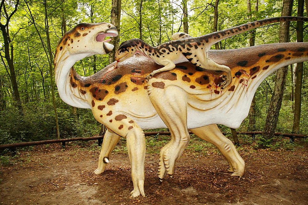 Deinonychus attacks Iguanodon in Leba Park dinosaur theme park, Poland