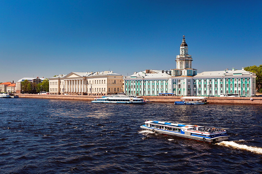 Russia, Saint Petersburg, Center, Kunstkamera Museum with Neva River tourboat