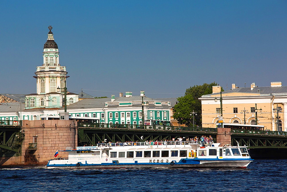 Russia, Saint Petersburg, Center, tourboat on the Neva River