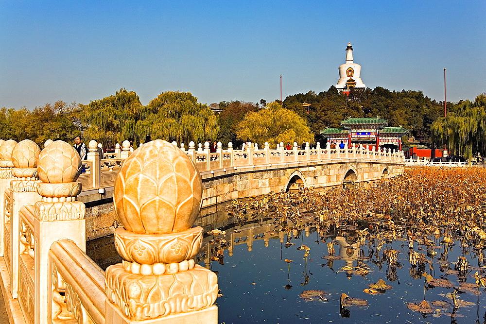Beihai park Rainbow Bridge and White Dagoba, Beijing, China