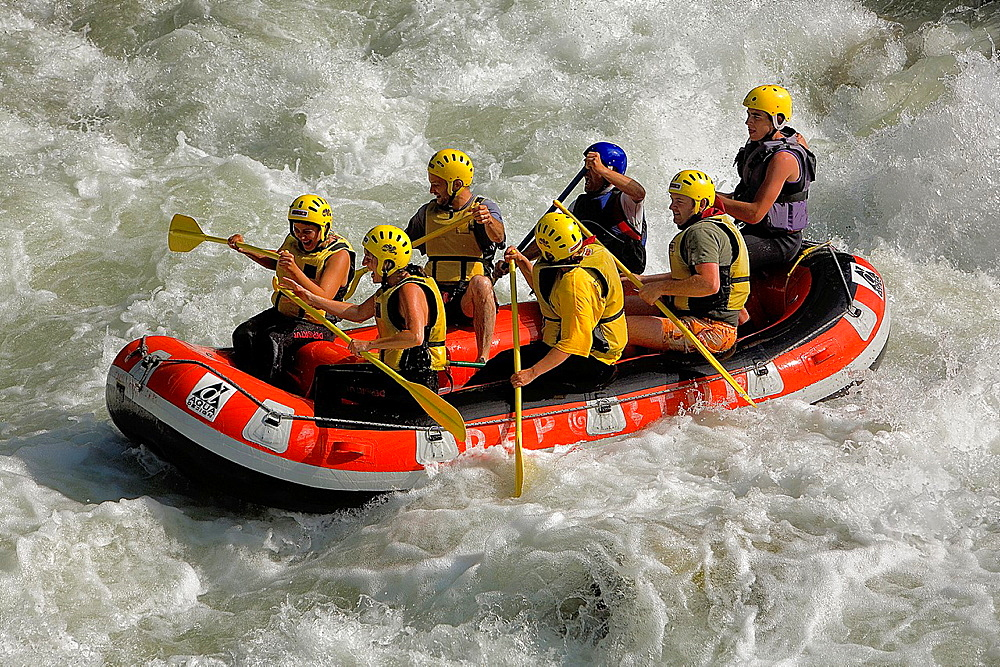 Garona river, near Les village  Rafting, Aran Valley, Pyrenees, Lleida province, Catalonia, Spain