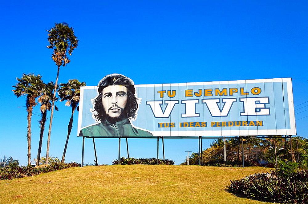 Playas del Este, propaganda with Ernesto Che Guevara (1928-67), Havana, Cuba