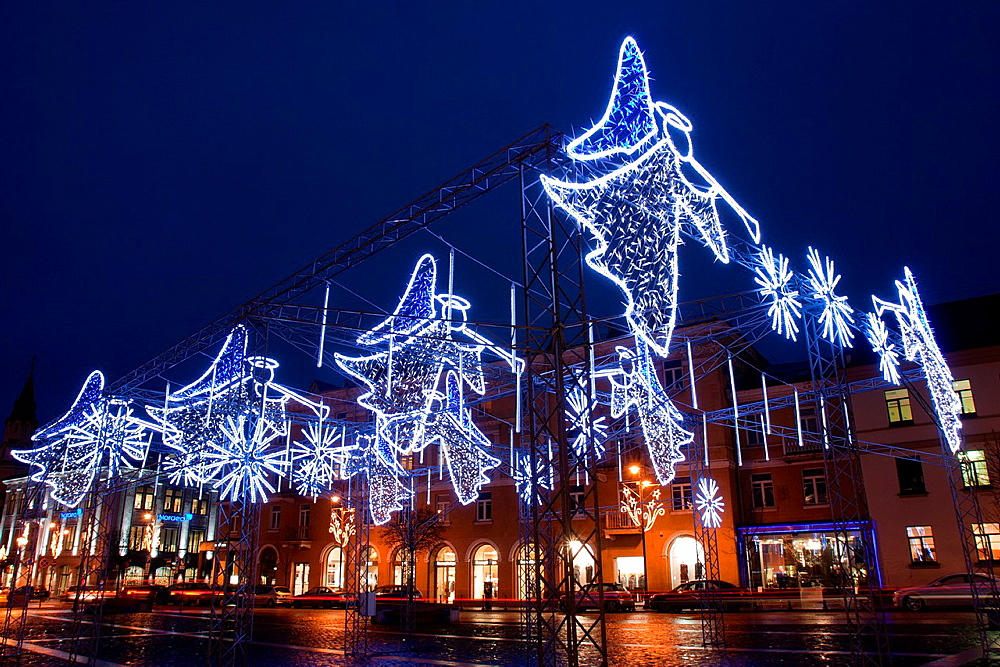 Christmas lights, Town Hall Square, Vilnius, Lithuania