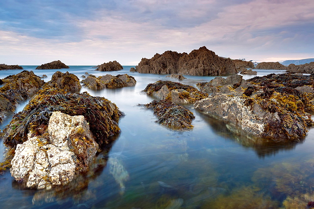 Rocky shores of Bantham at Dusk, Bantham, South Devon, England, United Kingdom, Europe