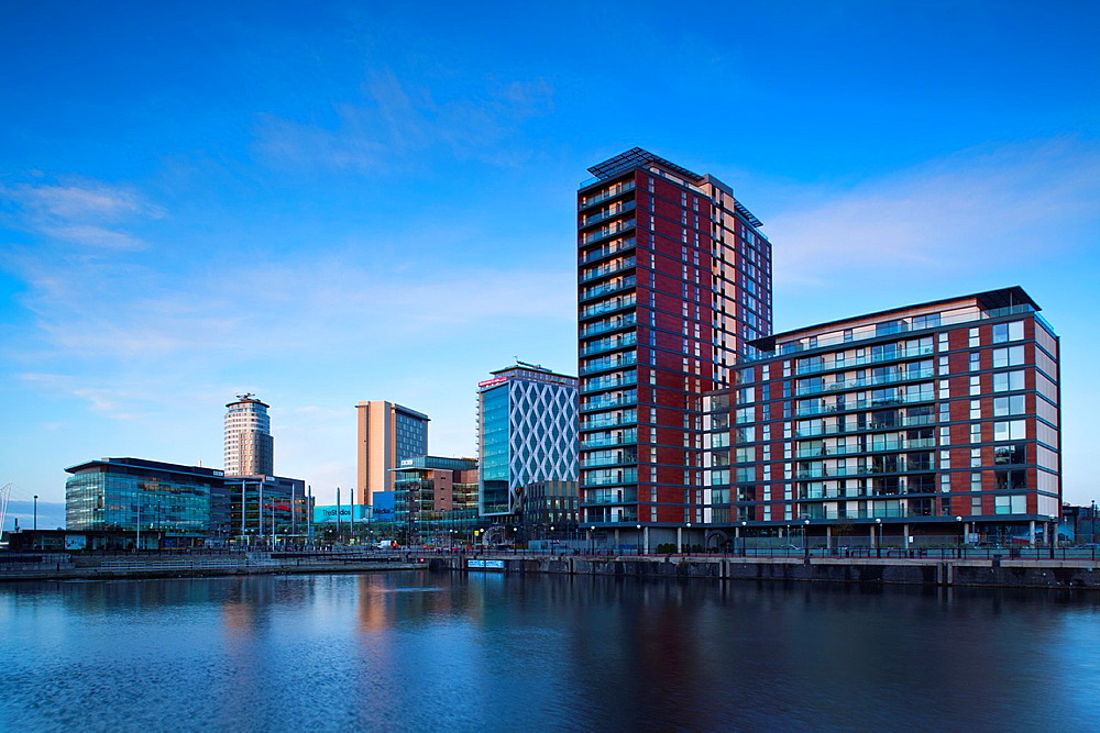 England, Greater Manchester, Salford Quays Media City UK complex located on the Salford Quays in the city of Salford near Manchester Old Trafford