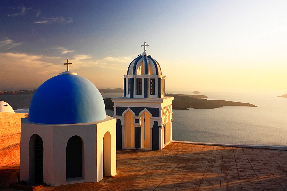 Churches at Sunset, Firostefani, Santorini, Cyclades, Greece - 817-372374