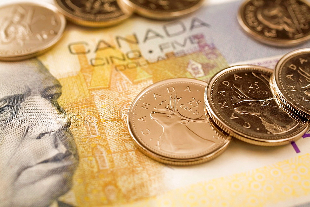 Canadian Five Dollar Bill and Coins, Studio Composition