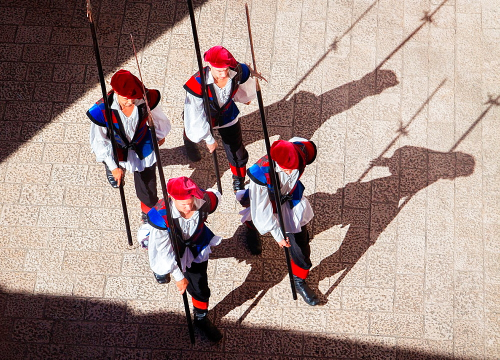 A bird´s eye view of traditional soldiers marching and the changing of the guards in the old city of Dubrovnik, Croatia