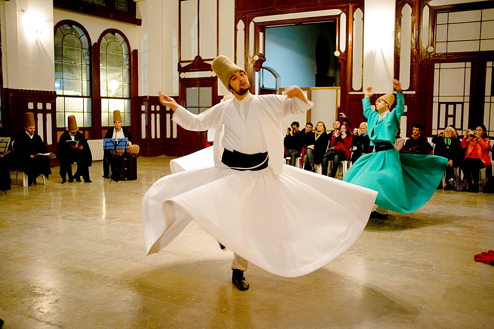 Dervishes dance in Istanbul city, Turkey