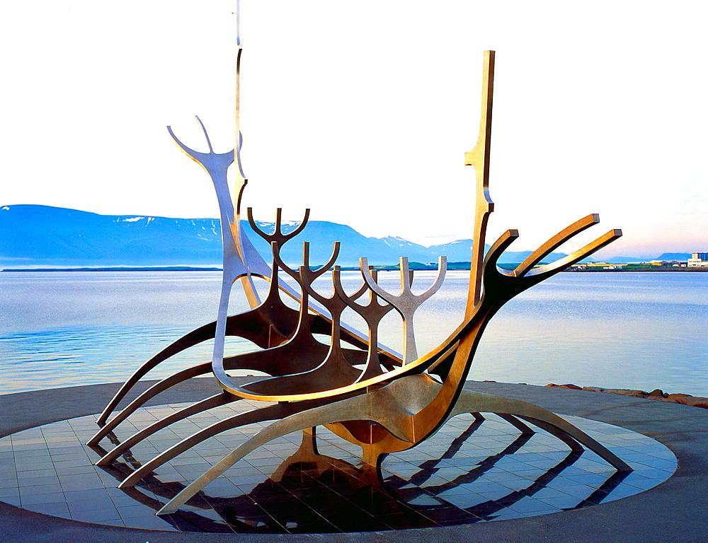 Iceland, Reykjavik, Viking Ship Monument