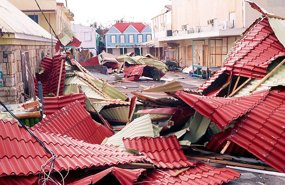 St, John's commercial street after Hurricane Luis (September 4th, 1995), Barbuda, Antigua and Barbuda