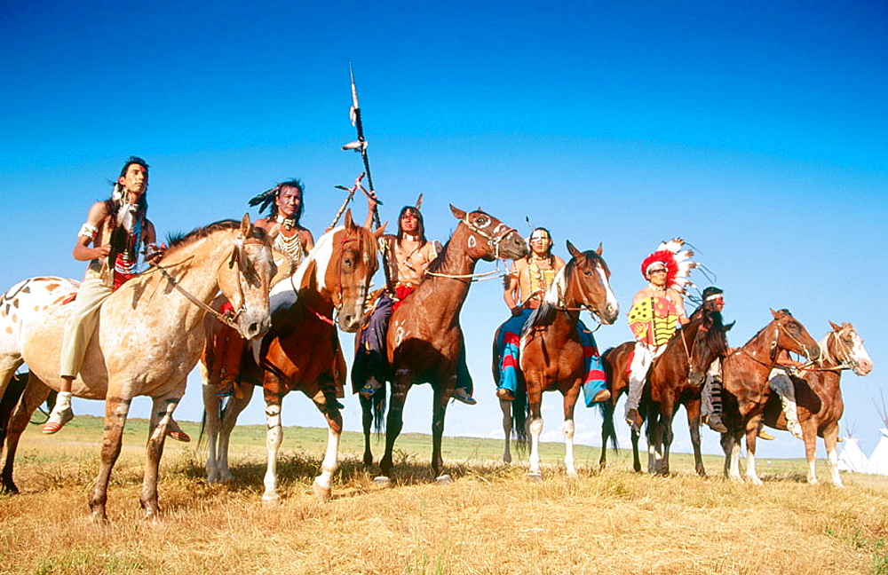 Cheyenne indians at Custers Last Stand Reenactment, Hardin, Montana, USA