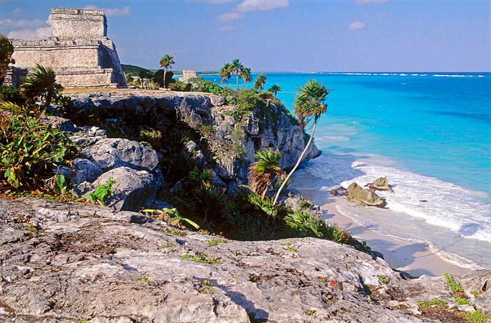 The castle (El Castillo), Mayan ruins, Tulum, Quintana Roo, Yucatan peninsula, Mexico