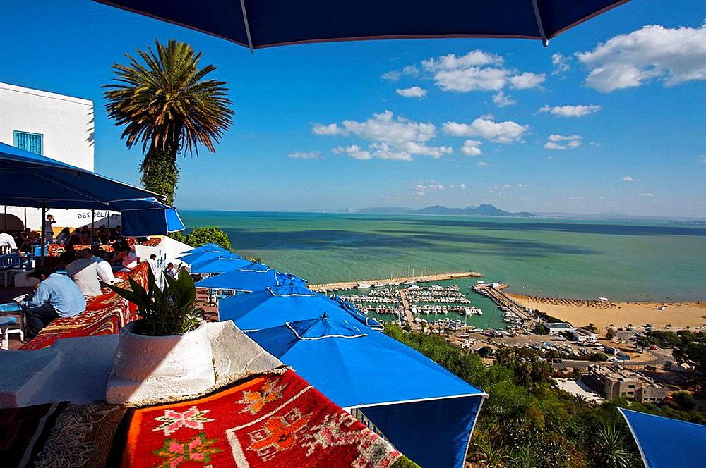 Outdoor cafe, Sidi Bou Said near Tunis, Tunisia
