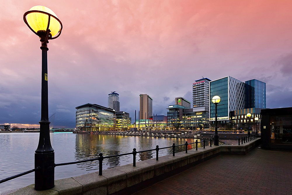 MediaCityUK at dusk, Salford Quays, Manchester, UK