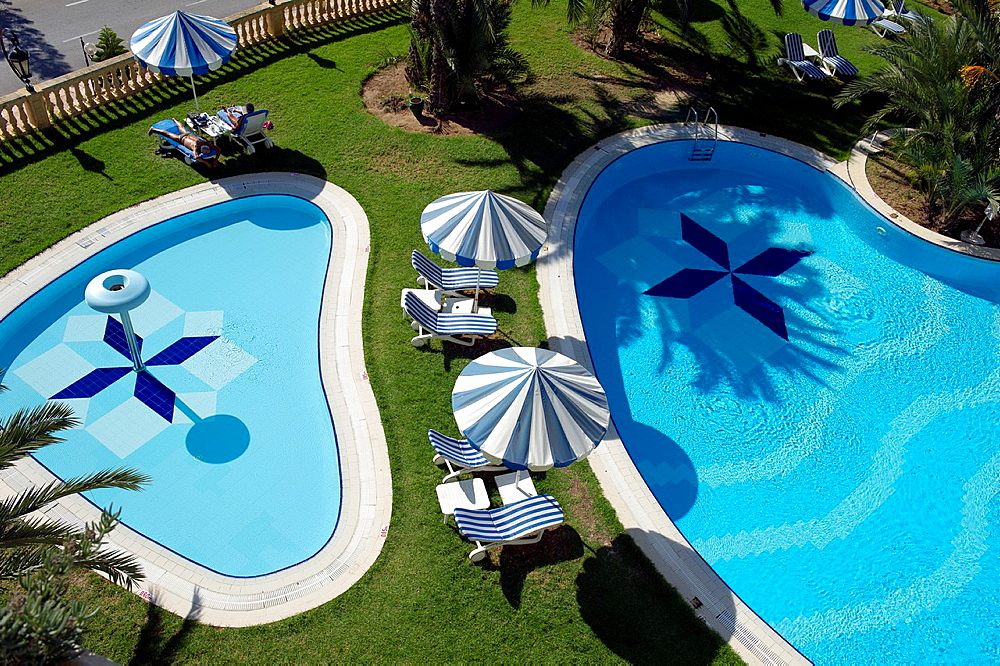 North Africa, Tunisia, Hammamet, pool of a luxury hotel