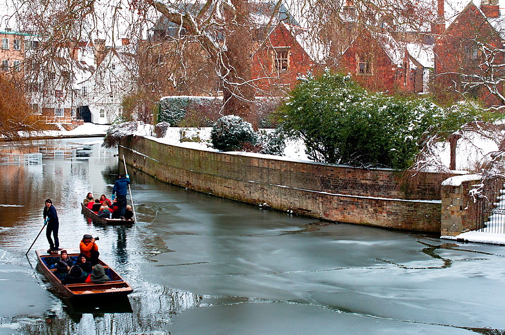 Punting on an icy river Cam  Cambridge  England