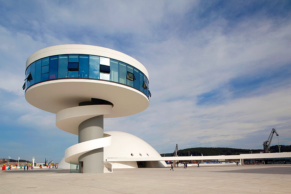 Spain, Asturias Region, Asturias Province, Aviles, Centro Niemeyer, arts center designed by Brazilian architect Oscar Niemeyer in formerly polluted industrial city, built 2011