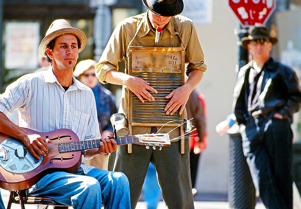 Musicians playing in the French Quarter, New Orleans, Louisiana, USA