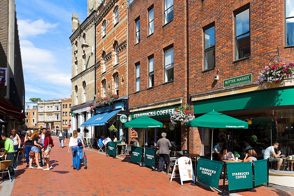 Starbucks coffee shop on Butter Market in the city centre, Reading, Berkshire, England, UK