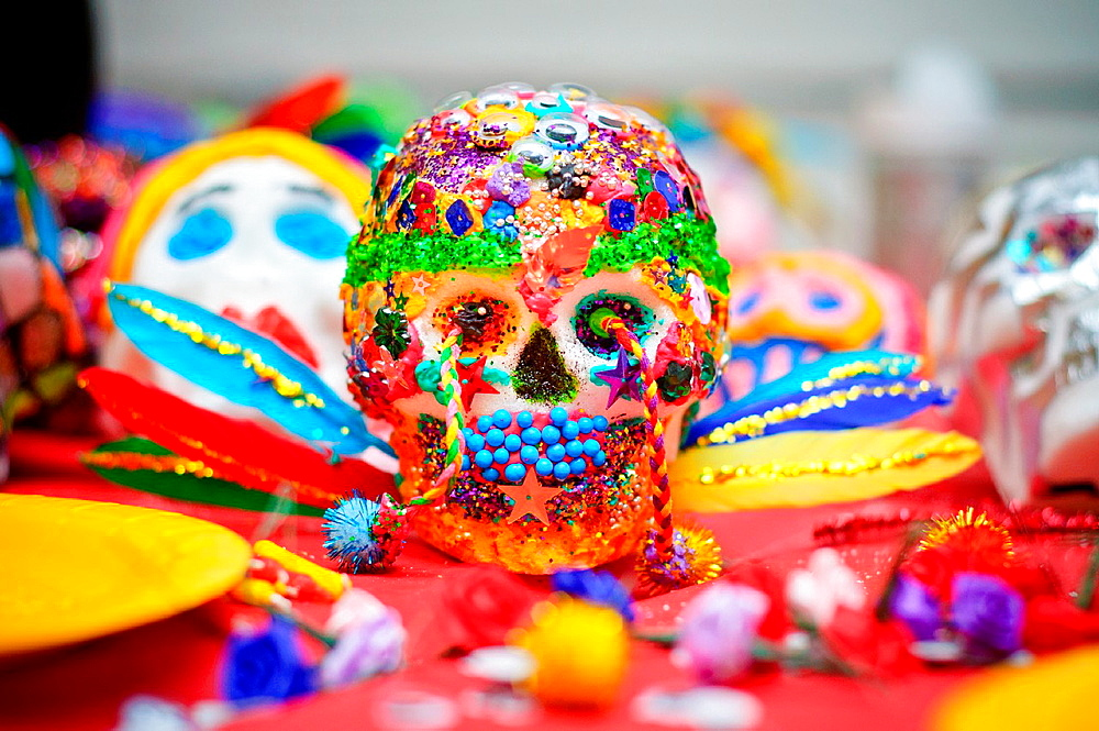 Sugar skulls are a tradition in Mexico and made on Day of the Dead, which is the day after Halloween