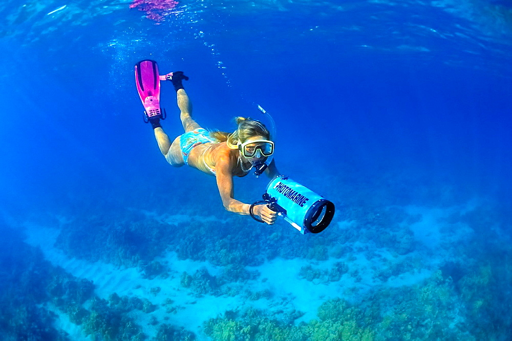 woman snorkeler with housed underwater video camera, diving over coral reef, Kiholo Bay, Kohala Coast, Big Island, Hawaii, USA, Pacific Ocean - 817-384215