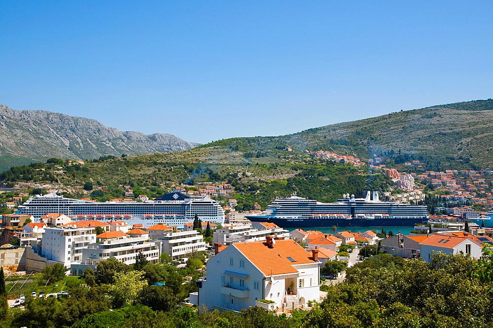 Cruise ships in between Babin Kuk peninsula and Gruz district Dubrovnik city Dalmatia Croatia Europe