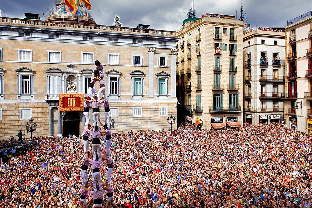 Minyons de Terrassa ´Castellers´ building human tower, a Catalan tradition Festa de la Merce, city festival  Placa de Sant Jaume Barcelona, Spain