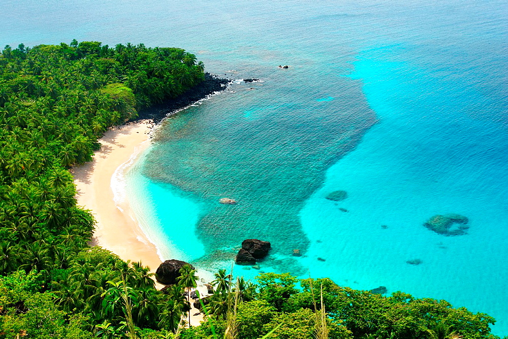 Banana beach in Principe, the smallest island of the Democratic Republic of Sao Tome and PrIncipe
