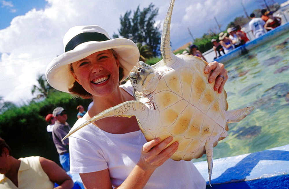 Woman at turtle farm on Grand Cayman