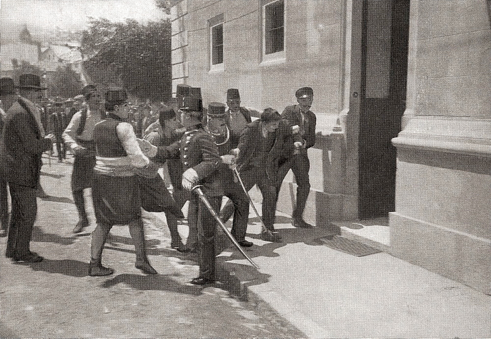 The police arresting Gavrilo Princip, 1894 -1918  Bosnian Serb who assassinated Archduke Franz Ferdinand of Austria and his wife, Sophie, Duchess of Hohenberg, in Sarajevo on 28 June 1914  From The Year 1914 Illustrated
