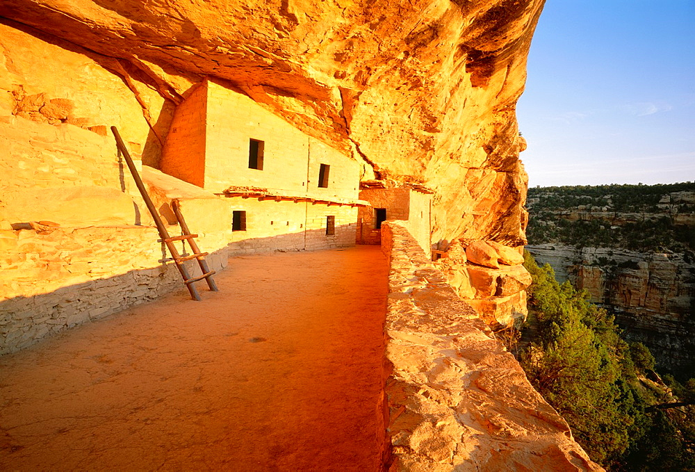 Balcony House at sunrise The North Plaza Anasazi culture cliff dwelling in Soda Canyon, occupied from A D 1190-A D 1270´s It contained 35-40 rooms and kivas Mesa Verde National Park, Colorado