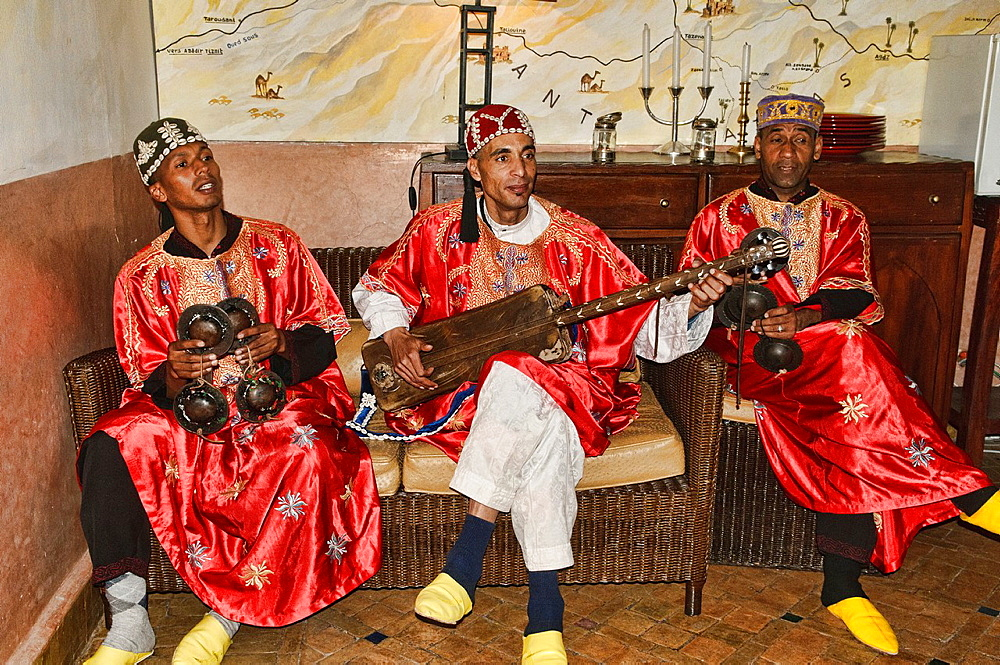 gnawa musicians in Marrakech, Morocco - 817-391038