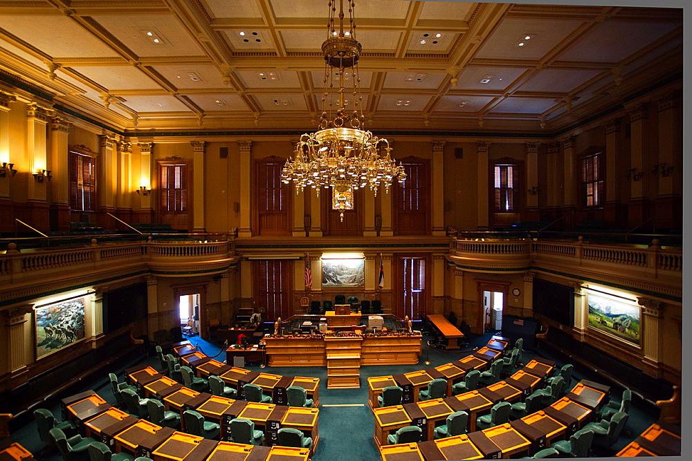 USA, Colorado, Denver, Colorado State Capitol, interior of the House of Representatives