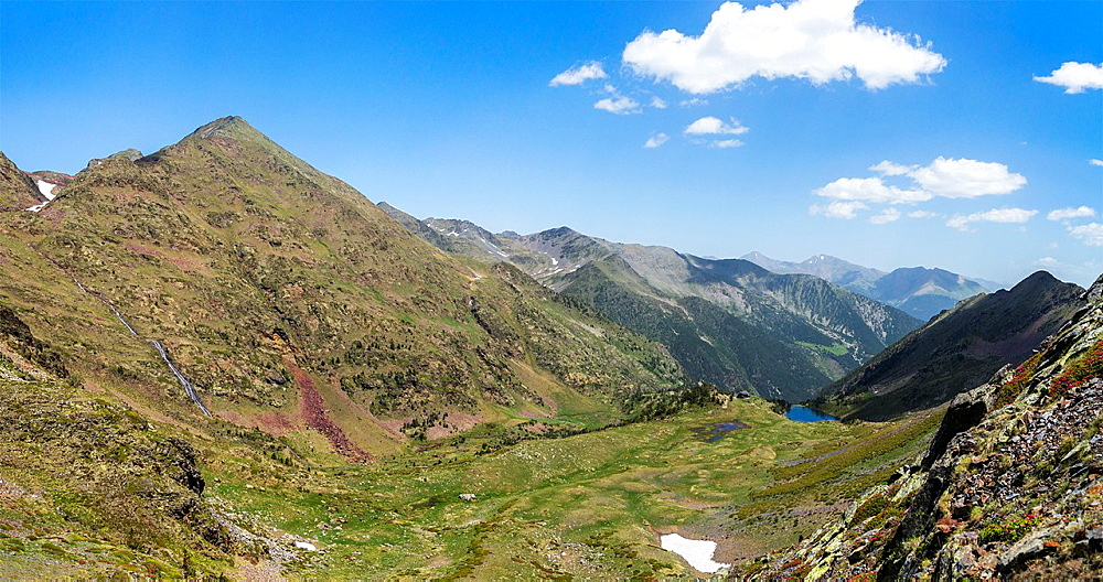 Pyrenees in Andorra with view of Coma Pedrosa, highest mountain in Andorra