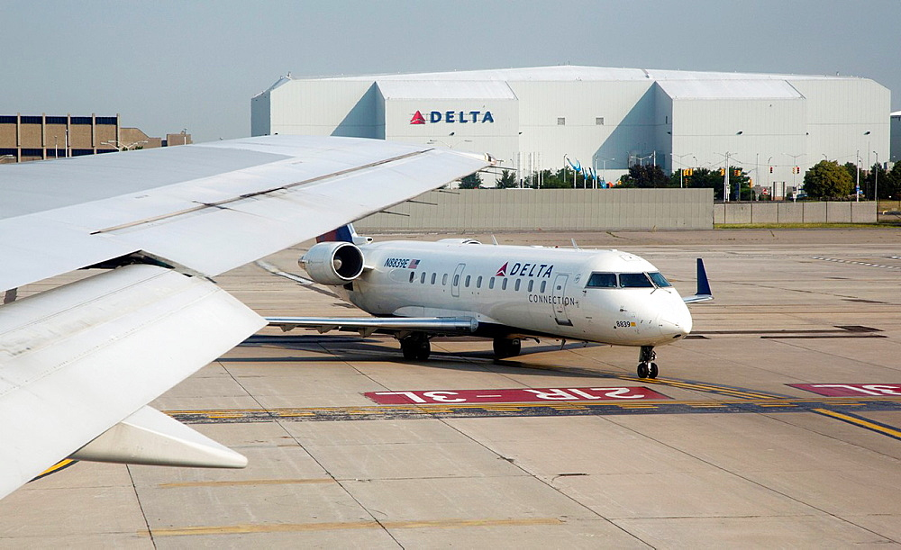 Romulus, Michigan - Delta Airlines jets on the ground at Detroit Metropolitan Airport