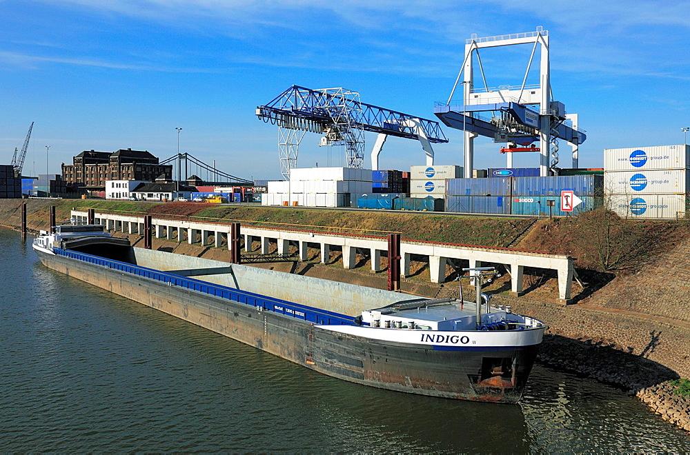 D-Krefeld, Rhine, Lower Rhine, Rhineland, North Rhine-Westphalia, NRW, Rheinhafen Krefeld, Rhine harbour, Container Terminal, harbour master, port cranes, cargo ship