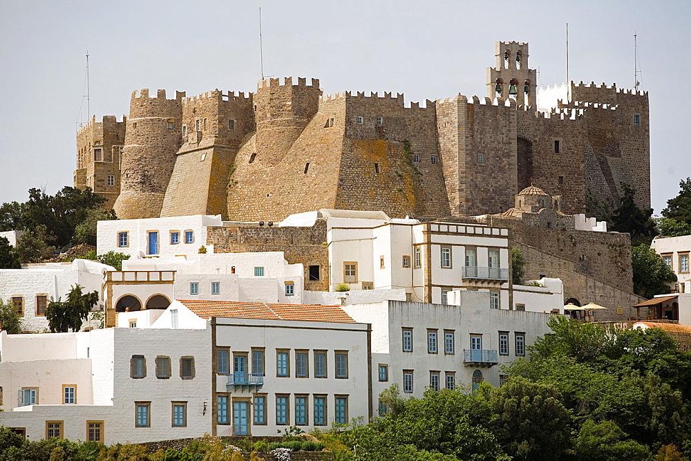 europe, greece, dodecanese, patmos island, chora village and monastery of saint john theologian