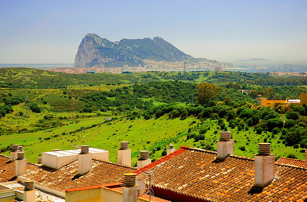 Panoramic view with Rock of Gibraltar  San Roque  Cadiz-province  Spain