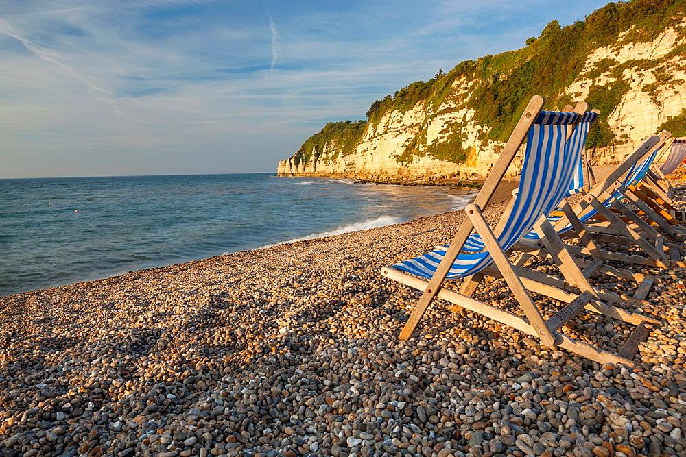 Beach in Beer, Lyme Bay, Jurassic Coast part of the South West Coastal Path, Devon, England, UK