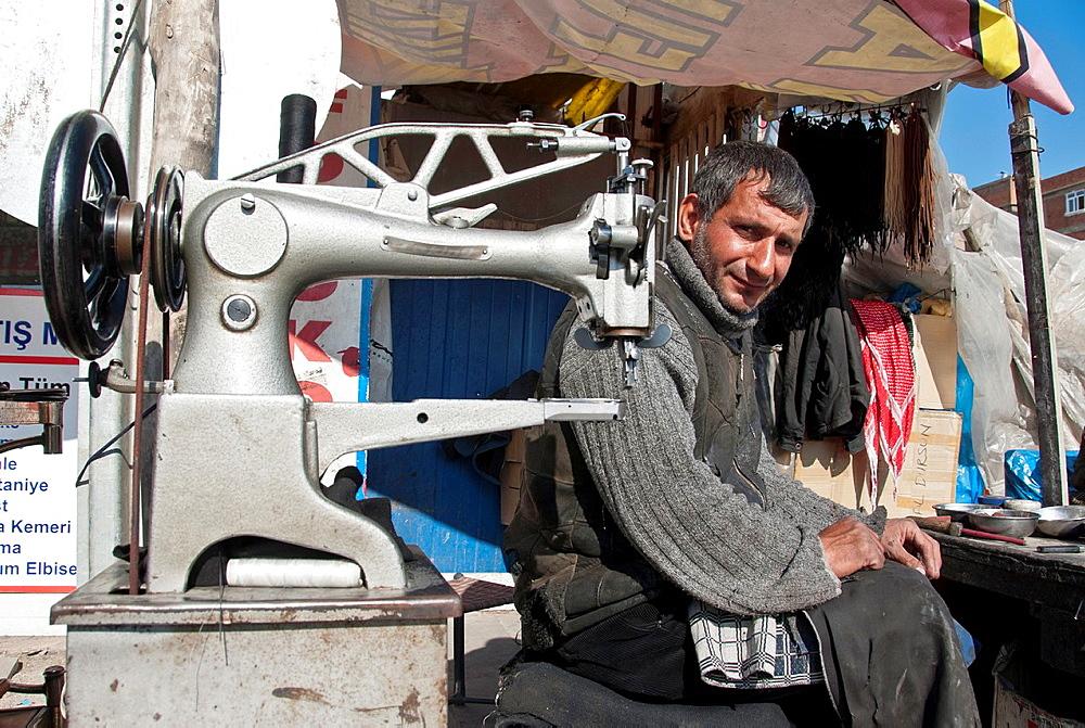 Street Tailor with sewing machine, Diyarbakir, Turkey