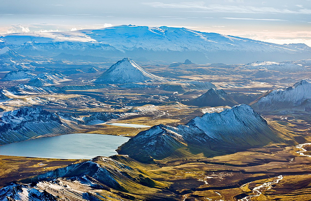 Aerial of Mountains, Emstrur Area  Iceland Region near Katla, a subglacial volcano under Myrdalsjokull Ice Cap  Icelandic volcanologists are expecting an eruption and continue to monitor the area