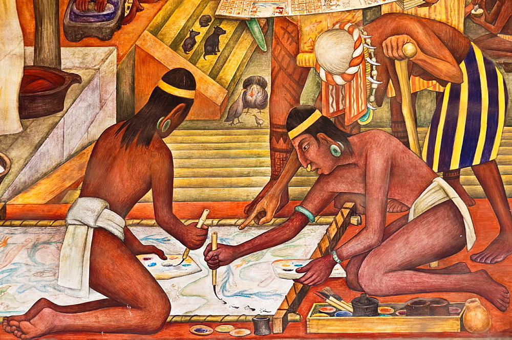 America. Mexico. Mexico DF. National Palace. Tarascan or Purepecha culture of Michoacan mural. Old men teaching to two young men painting a codex. Diego Rivera´s Work 1886-1957