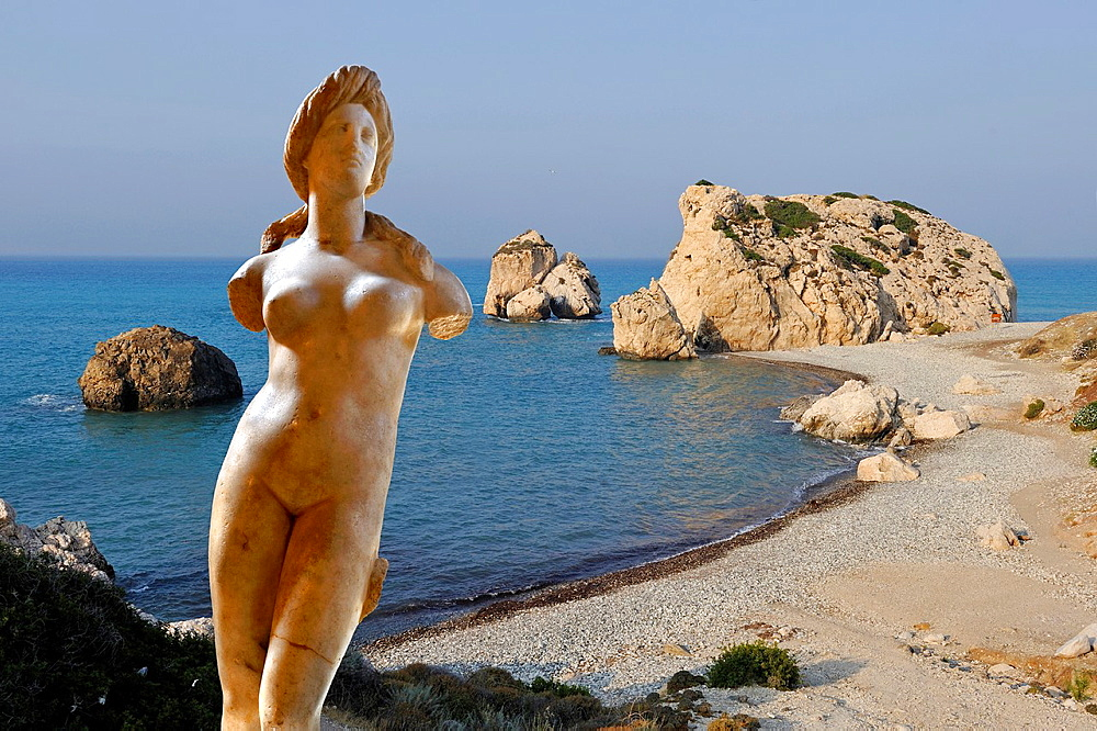 photomontage, statue of Aphrodite from Soli, 1st century BC of the Archeological Museum of Nicosia and Petra Tou Romiou site, legendary Aphroditea´s birthplace, Cyprus, Eastern Mediterranean Sea island, Eurasia