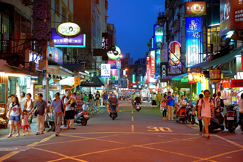 The bustling YongKang Street in Taipei, Taiwan, a center for gourmet restaurants and street vendors
