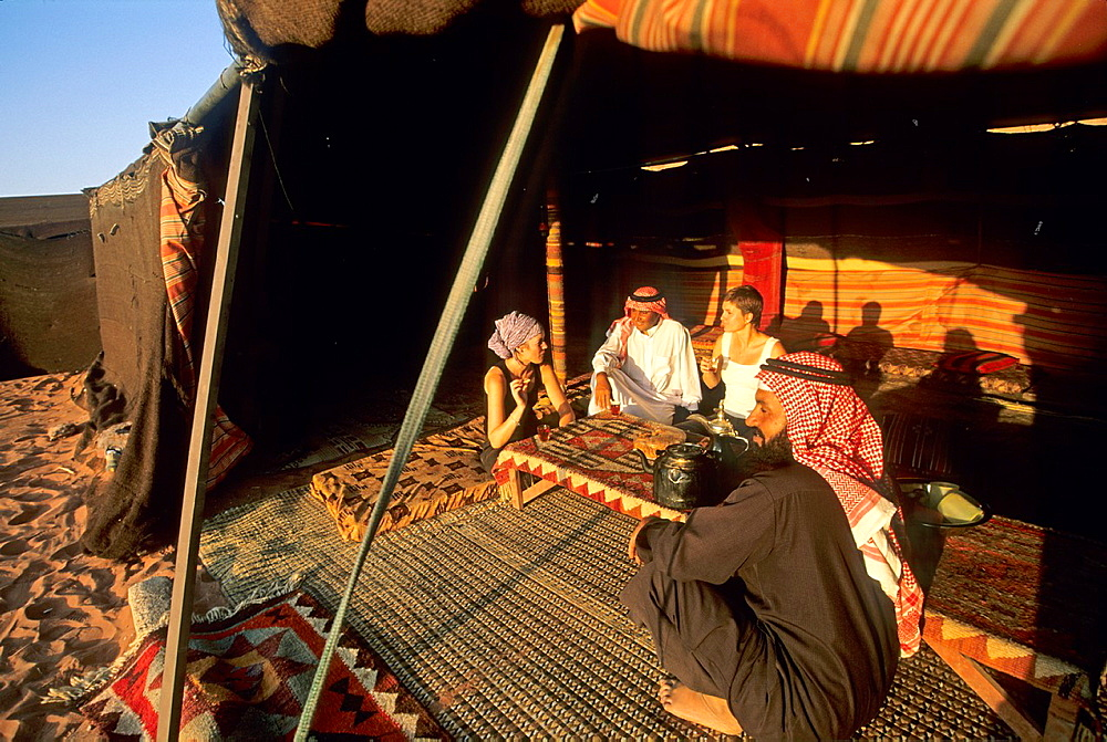 tourist camp in the desert of Wadi Rum, Jordan, Middle East, Asia